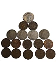 1 Ultimate Collection of Old Coins. 2 Indian Head Pennies, 10 Wheat Pennies, 4 Liberty Nickels, and 1 Silver Walking Liberty Quarter Good
