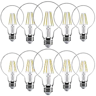 Sunco Lighting 10 Pack G25 LED Bulb, Dimmable, 5.5W=60W, 6000K Daylight Deluxe, Vintage Edison Filament Globe, 500 LM, E26 Base, Indoor/Outdoor Lights - UL