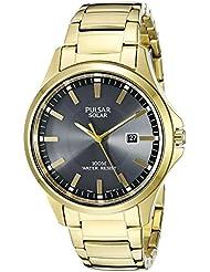 Pulsar Mens PX3076 Solar Dress Analog Display Japanese Quartz Gold Watch