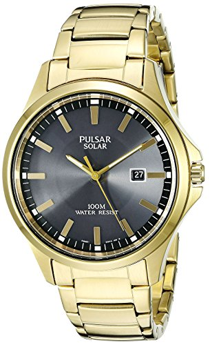 Pulsar Analog Wrist Watch (Pulsar Men's PX3076 Solar Dress Analog Display Japanese Quartz Gold Watch)