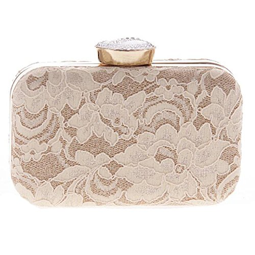 (EPLAZA Women Lace Evening Clutch Bags Party Handbags Vintage Bridal Wedding Purse)