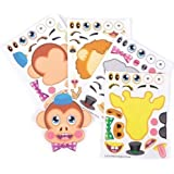 Make-a-Zoo Animal Sticker Sheets -12 Pack- For Kids, Arts, Parties, Birthdays, Party Favors, Gifts, Crafts, School, Daycare, Etc. - Kidsco