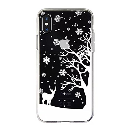 (iPhone X Case,Blingy's Winter Style Transparent Clear Soft TPU Protective Case Compatible for iPhone X and iPhone Xs (Snowy Deer))