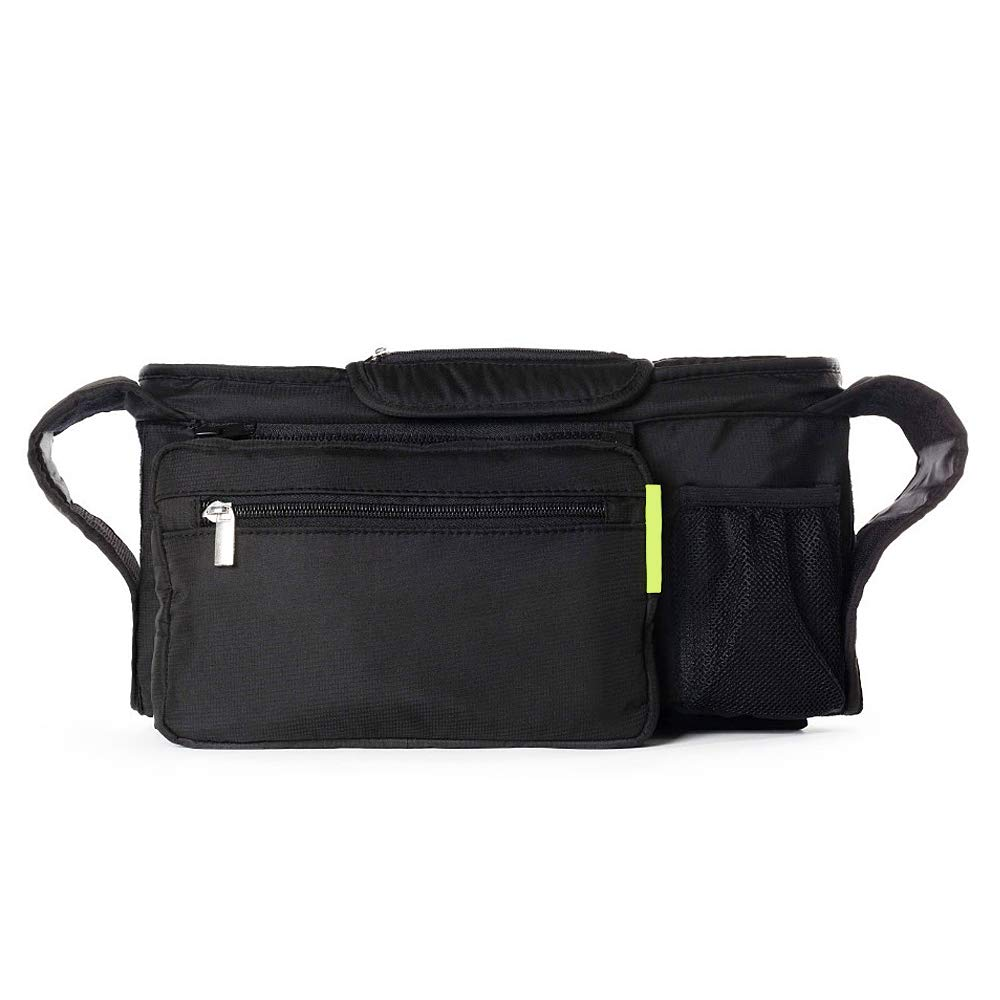 ZoneStar Black Stroller Organizer with Insulated Cup Holders, Detachable Phone Bag (Bag-Y-Black) by Zone Star (Image #1)