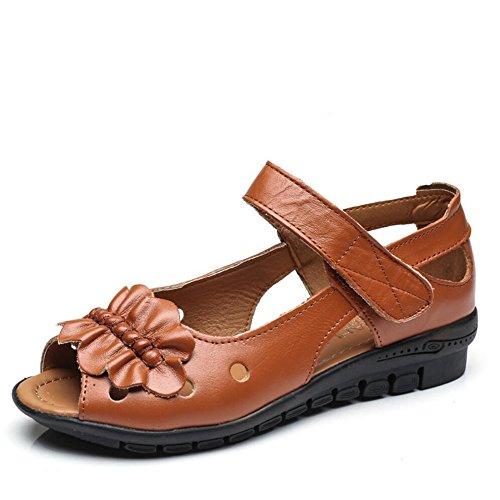 Zapatos De Mujer De Verano Suave De Fondo Plano Sandalias Mujer Amarillo