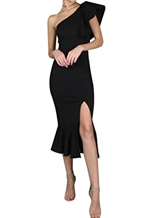 474c0f8d9e EFOFEI Womens Sexy Club Dress Formal Split Dress Elegant Flounce Dress