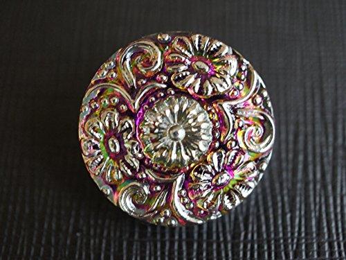 - Hand Made Art Czech Glass Button size 10'', 22.5mm Purple Vitrail - Silver 1 pc