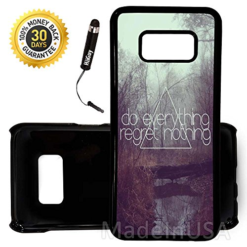 Custom Galaxy Note 8 Case (Cute Quote Regret Girly Hip) Edge-to-Edge Plastic Black Cover Ultra Slim | Lightweight | Includes Free Mini Stylus Pen by Innosub (Hip Mini Monograms)