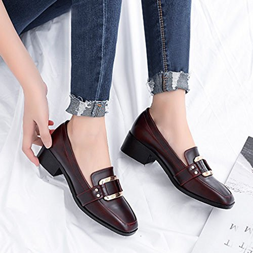 Giy Mujeres Classic Square Toe Penny Mocasines Bombas Slip-on Plataforma Hebilla Block Heel Dress Zapatos Loafer Vino Rojo