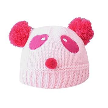 Bébé chaud Bonnet en tricot Chapeau garçons et filles d hiver à broder  pompons Panda e84a204c357