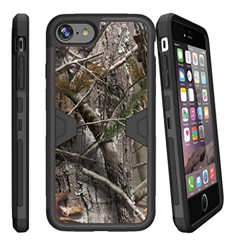 MINITURTLE Compatible with iPhone 7 Plus [ Apple iPhone 7 Plus | iPhone 7s Plus] Combat Shockguard, Hard Sleek Shell Silicone Bumper w/Stand and Holster Hunters Camouflage