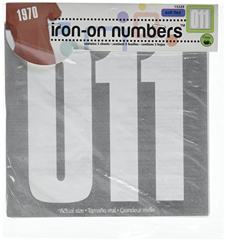 Dritz Iron-On 5 Block Numbers - White
