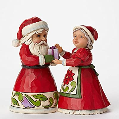 "Jim Shore for Enesco Heartwood Creek Mini Santa and Mrs. Claus Figurine, 3.125"""