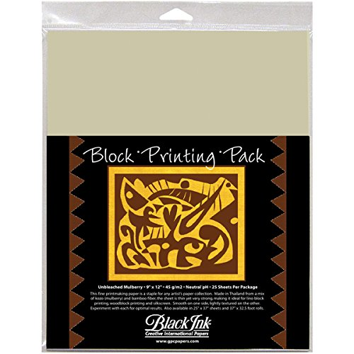 (Black Ink 9-Inch by 12-Inch Unbleached Mulberry Block Printing Paper, 25-Pack)