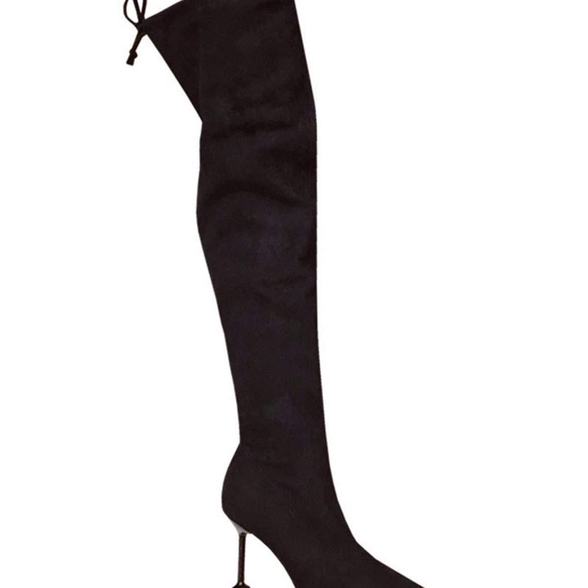 HBDLH Damenschuhe/Sexy Schlank Mit Hohen 8Cm Knie - Wildleder Spitze Dünne Sohle Stiefel Schwarz - Mode - Stiefel.