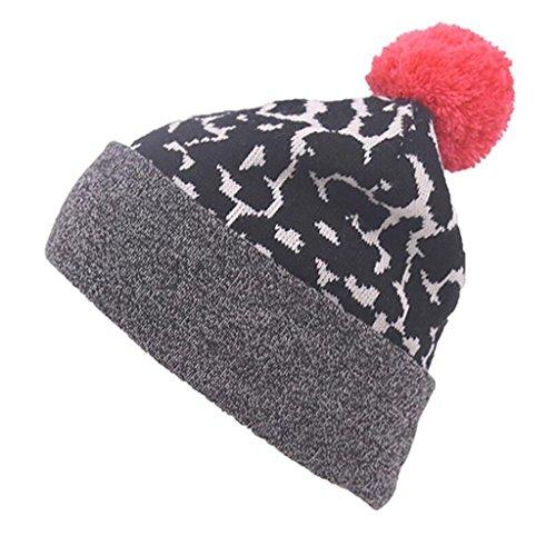 ZHAS Bola de pelo otoño e invierno sombrero, Sombrero de tejido Jacquard de moda