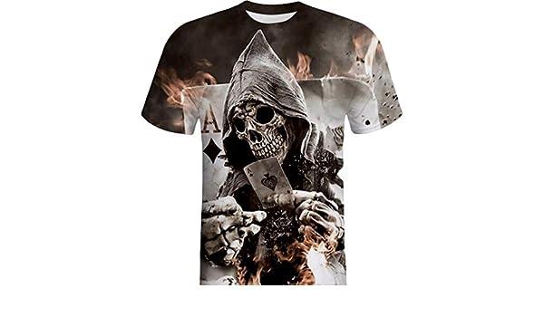 Camisetas, Ling+YAN Camisa de Manga Corta de la Camiseta de la Manga de la Camiseta de la Impresión del Cráneo 3D para Hombre: Amazon.es: Ropa y accesorios