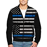 988Iron America Thin Blue Line Flag Men's Polyester Stand Collar Front Zip Jacket