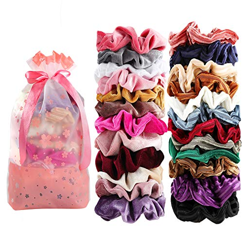 Velvet Scrunchies 24 Assorted Scrunchies for Hair Accessories for Girls and Women ¡­ ()