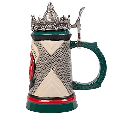 Game of Thrones House Targaryen Beer Stein – Hand Painted Ceramic with Pewter Crown Lid – Father's Day Gift for GOT Fans…