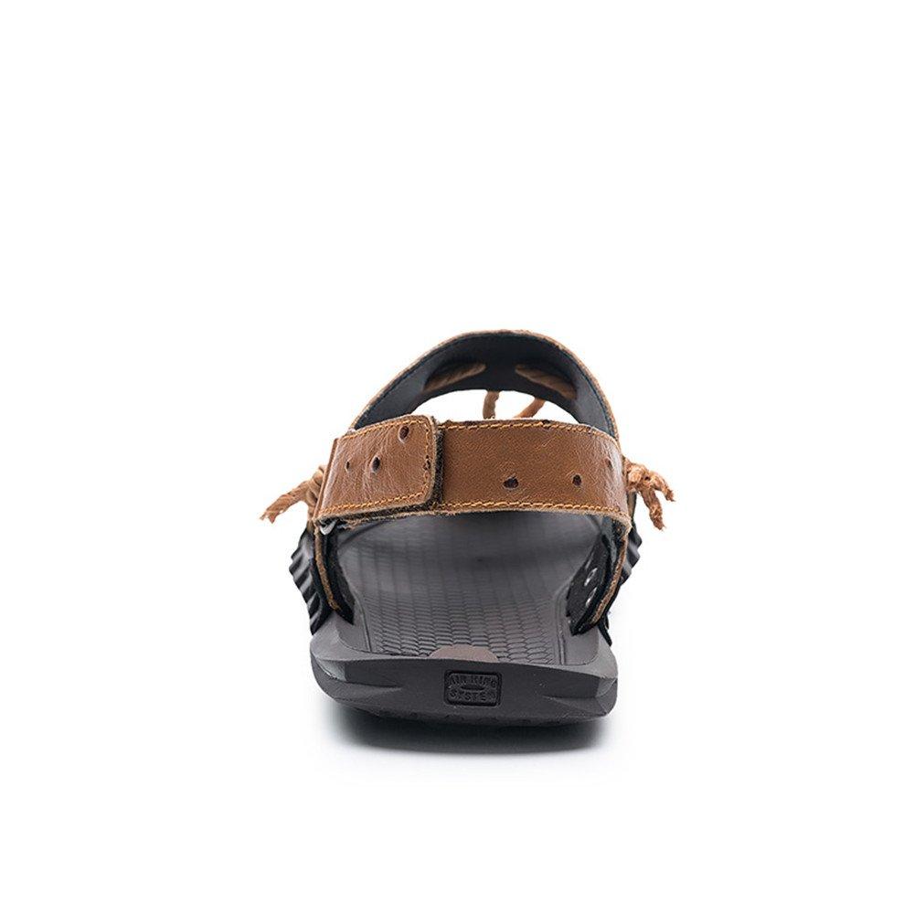 Hishoes Men's Genuine Beach Sandals Genuine Men's Leather Hemp Rope Non-Slip Soft Flat Shoes Comfortable (Color : Brown, Size : 10MUS) 10MUS|Brown B07DVYX34G d2ee30