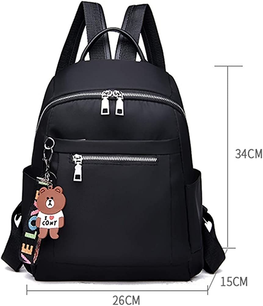 Womens Bags Oxford Cloth Backpack Zipper Solid Color Black