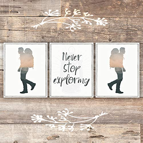 Never Stop Exploring Art Prints (Set of 3) - Unframed - 8x10s