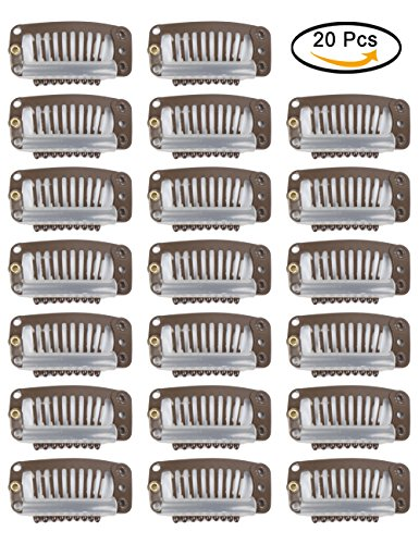 Fani 20pcs 9-Teeth Snap Wig Combs Clips with Rubber Brown/Co