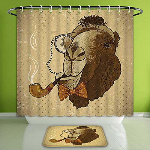 Waterproof Shower Curtain and Bath Rug Set Animal Decor Pop Art Stylized Hipster Camel with Pipe and Monocle Vintage Humor Fun Cool Graphi Bath Curtain and Doormat Suit for Bathroom 72