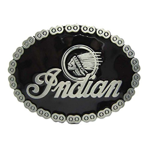 MASOP Vintage Native American Indian Head Oval Biker Black Belt Buckle Men ()