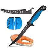 fish fillet set - 6.5 Inch Fish Fillet Knife with Sharpener Set. Flexible, stainless steel blade.