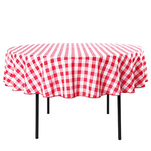 Waysle 90-Inch Round Tablecloth, 100% Polyester Washable Table Cloth for Circular Table, Red and White -