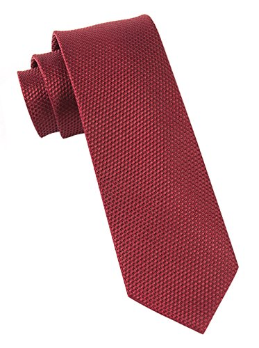 The Tie Bar 100% Woven Silk Burgundy Solid Textured 3 Inch Tie