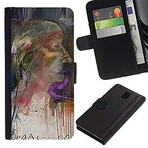 TORNADOCOVER Diseño Trasera Imagen Cuero Voltear Tarjeta Ranura Duro Funda Negro Borde Carcasa Case Cover Skin para Smartphone Samsung Galaxy Note 3 III N9000 N9002 N9005 - vieja pintura de acuarela de retrato