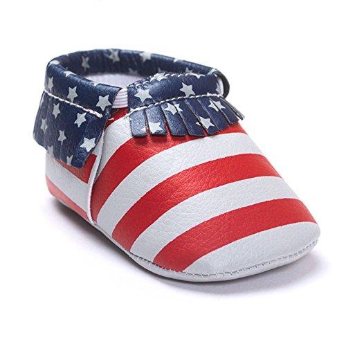 ESHOO bebé niños niñas borla mocasín de piel sintética suave suela zapatos 0–18M rojo rosa (b) Talla:0-6 meses Flag