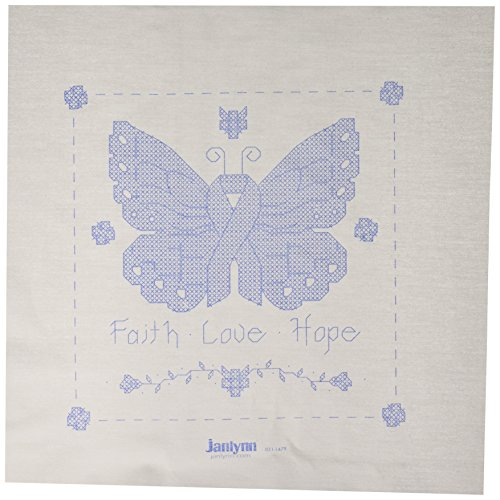 Janlynn 21-1479 Butterfly of Hope Quilt Blocks Stamped Cross Stitch, 15 by 15-Inch, 6 Per Package ()