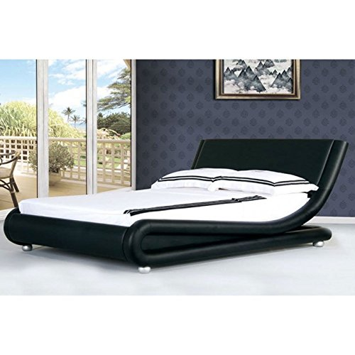 4ft6 Italian Designer Faux Leather Double Mallorca Bed Frame In BLACK Modern New