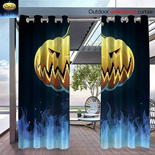 BlountDecor Indoor/Outdoor Single Panel Print Window Curtain Vector Scary Halloween Pumpkin Silver Grommet Top Drape W96 x -