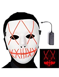 Ansee Scary Mask Halloween Cosplay Led Costume El Wire Light up for Festival Parties (Red)