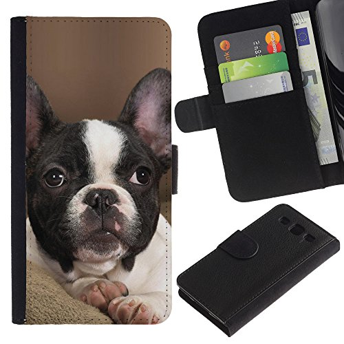 EuroCase - Samsung Galaxy S3 III I9300 - French bulldog Boston bull terrier pet - Cuero PU Delgado caso cubierta Shell Armor Funda Case Cover