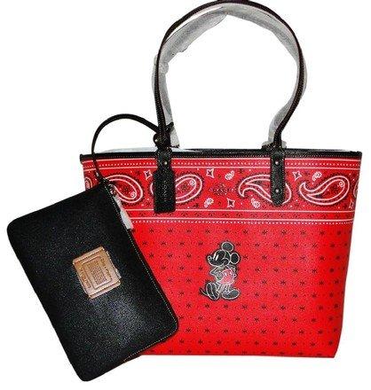Coach F59376 Disney Mickey Mouse Reversible Prairie Bandana Print QB/Bright Red Black City Tote Handbag With Wristlet Coach Makeup Pouch