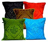 5Pcs-100Pcs Amazing India Mirrorwork Traditional Square Multi Color Cushion Covers Wholesale Lot