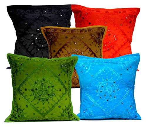5Pcs-100Pcs Amazing India Mirrorwork Traditional Square Multi Color Cushion Covers Wholesale Lot by Amazingindiaonline