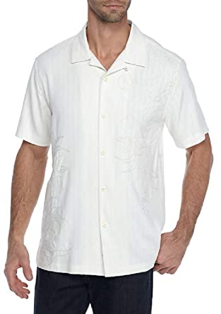 7e15f28e02 Tommy Bahama Front Embroidered Playa Palms Silk Camp Shirt at Amazon Men s  Clothing store