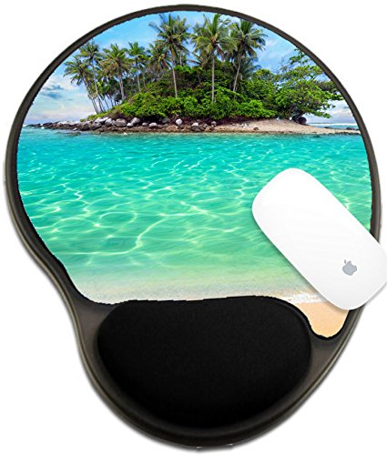 Luxlady Mousepad wrist protected Mouse Pads/Mat with wrist support design IMAGE ID: 24479102 Tropical island and sand beach exotic travel background (Tropical Antioxidant)