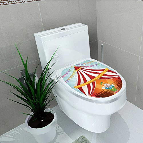 Analisa A. Houk Toilet Seat Wall Stickers Paper Circus Clown in Circus Tent Cheerful Costume Entertainer Joyful Design Decals DIY Decoration W14 x L16 -