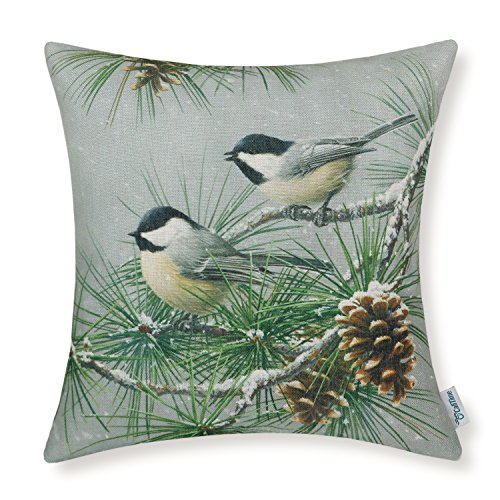 CaliTime Canvas Throw Pillow Cover Shell for Couch Sofa Home Decoration 18 X 18 Inches Wild Chickadees with Pinecones Tree in (Living Natural Pine Bedding)