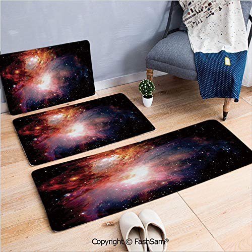 FashSam 3 Piece Non Slip Flannel Door Mat Space Nebula After Super Nova Celestial Explore The Cosmos in The Universe Print Indoor Carpet for Bath Kitchen(W15.7xL23.6 by W19.6xL31.5 by W17.7xL53) ()