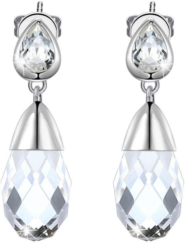 Pendientes de Cristal Transparente Pendientes con Forma de Gota de la Reina Joyas clásicas de Piedras Preciosas conmemorativas