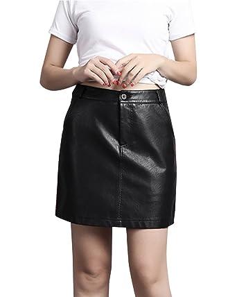 Mini Falda Para Mujer Sexy Elegante, Piel Sintética Elástica Con ...